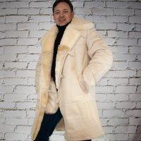 3/4 Mantel aus Lammfel wei? beige | Echtleder | Jacke
